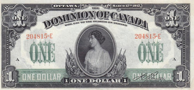 Dominion of Canada one Dollar banknote Princess Patricia of Connaught