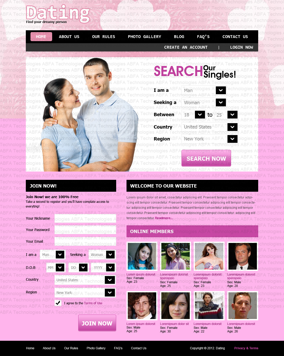 Rizwan saqib web design portfolio february 2012 for Dating site about me template