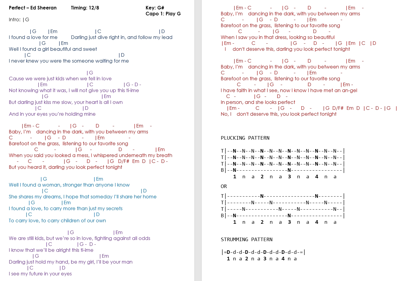 Perfect Ed Sheeran Lyrics And Chords Key Of G Images