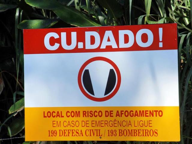 PLACAS COM ALERTA DE AFOGAMENTO SÃO ALVO DE VANDALISMO