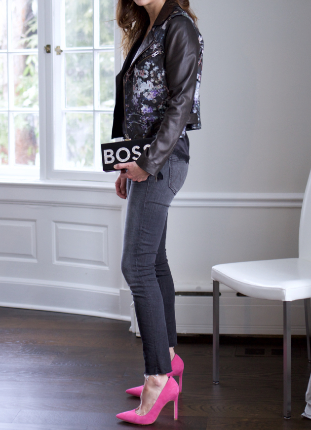 full length side view of OOTD, Parker moto jacket, BOSS clutch, Mother jeans, pink pumps