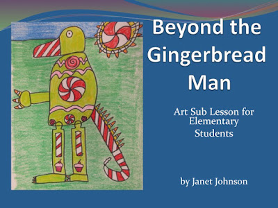 Elementary art student drawing of an alternative to a gingerbread man