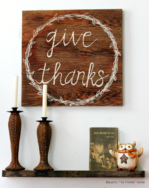 Hand Lettered Give Thanks Sign
