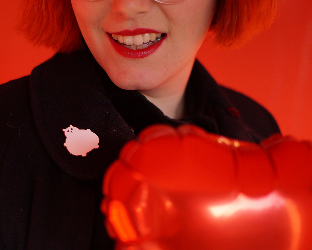 The Whitepepper, Sarah Fisk, Face dress, Boya Shen Photography, Edinburgh, Princes Street Gardens, Galentine's Day, Valentines shoot, Fat kitty Brooch