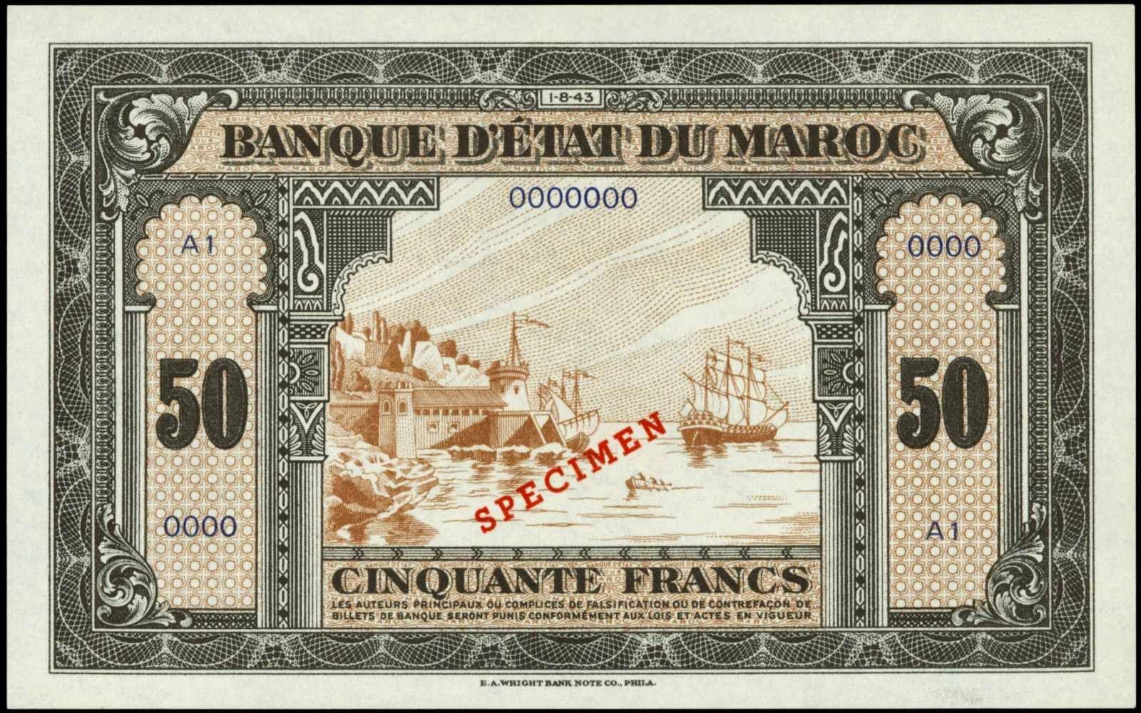 Morocco 50 Francs banknote 1943