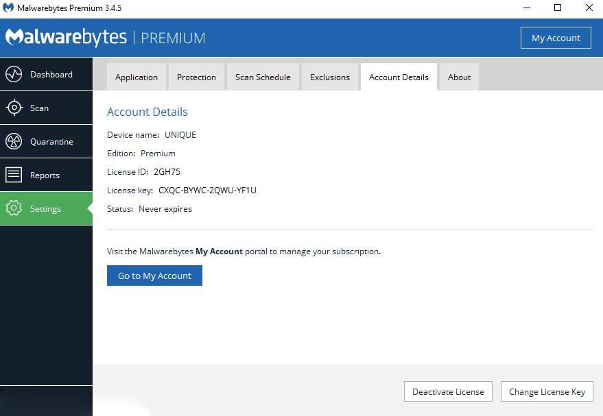 Kích hoạt thành công phần mềm Malewarebytes