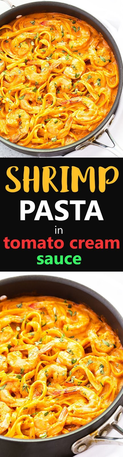 ONE PAN SHRIMP AND PASTA IN TOMATO CREAM SAUCE