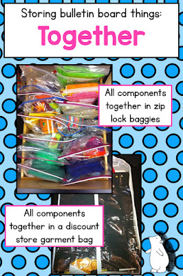 How to consolidate bulletin board letters, trim, and other elements using zip lock baggies and other cheap and easy solutions!