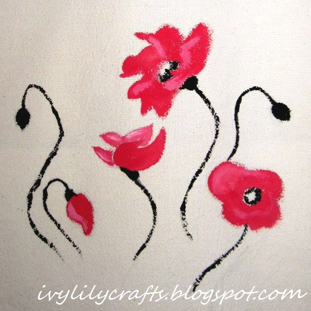 Fabric Painting: Poppies on a tote bag.