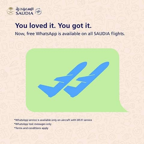FREE WHATSAPP SERVICE ON SAUDIA FLIGHTS