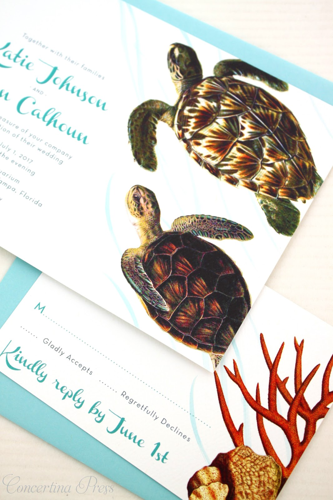 Sea Turtle Wedding Invitations with Coral RSVP cards - having reception at an aquarium