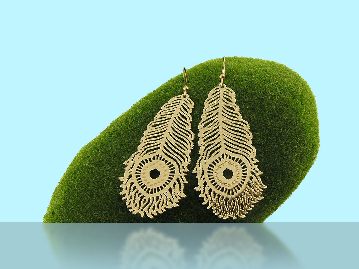LAVISHY peacock feather laser cut metal pendant earrings.