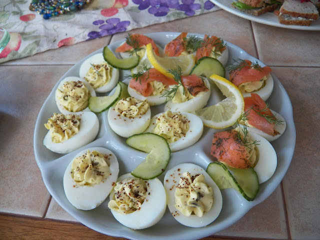 Deviled Eggs with Salmon, Capers and Dill