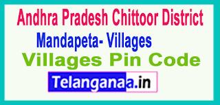 East Godavari District Mandapeta Mandal and Villages Pin Codes in Andhra Pradesh State