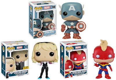 Marvel Pop! Retailer Exclusive Vinyl Figure Variants by Funko - Amazon Exclusive 75th Anniversary Sepia Tone Captain America, GTS Exclusive Masked Captain Marvel & Hot Topic Exclusive Unhooded Spider-Gwen