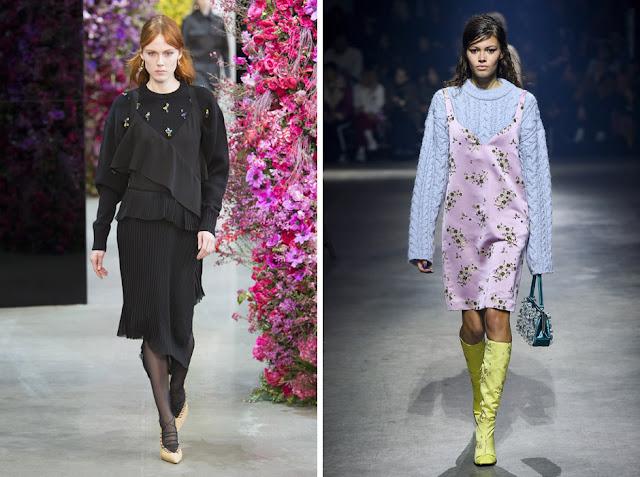 Образы с подиума со свитером, надетым под легкое платье