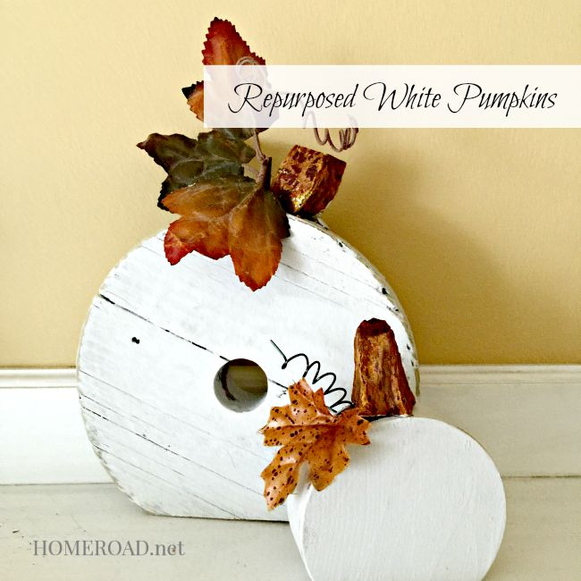 Repurposed White Pumpkins with overlay