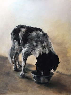 Dinner time, oil on canvas 60x80cm, painting of a Stabyhoun eating from a bowl by Philine van der Vegte