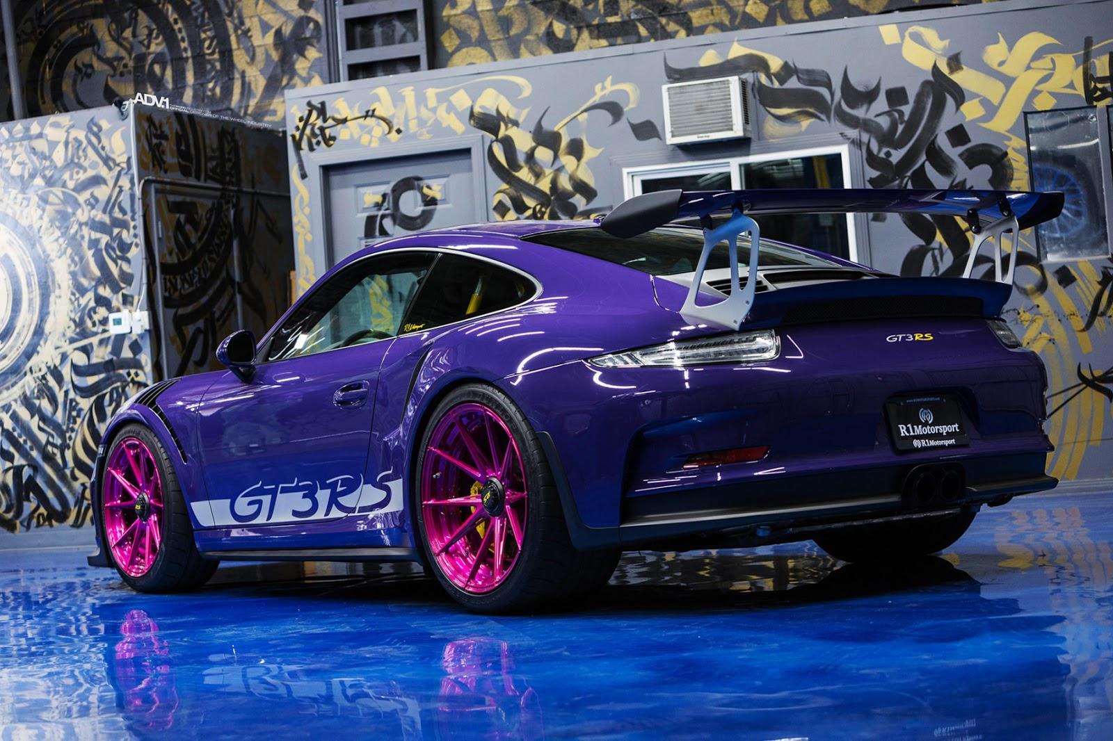 ultraviolet porsche 911 gt3 rs poses with pink wheels carscoops. Black Bedroom Furniture Sets. Home Design Ideas