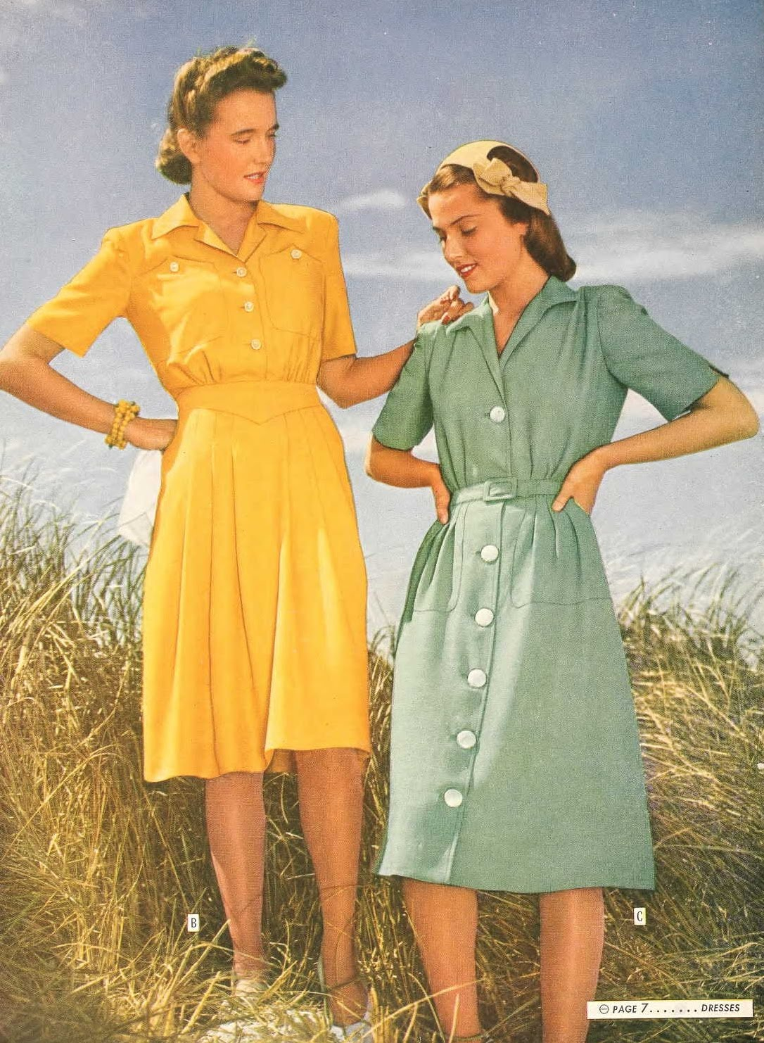 1940s Style Dresses Fashion Clothing: Snapped Garters: 1944 Fashions IN COLOUR