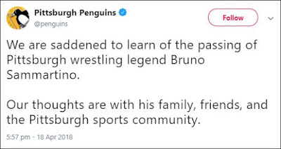 Pittsburgh Penguins Tweets About Bruno Sammartino