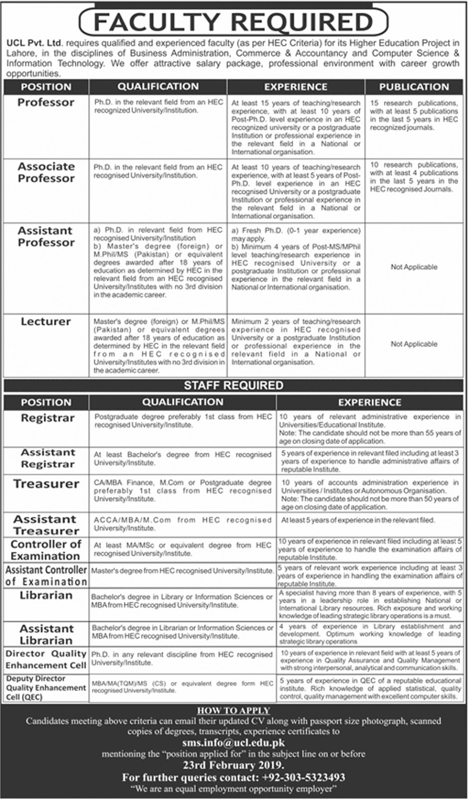 Jobs Vacancies In University College Lahore UCL 27 January 2019