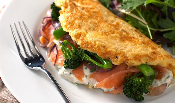 The Low Carb Diabetic: Broccoli and Smoked Salmon Omelette.