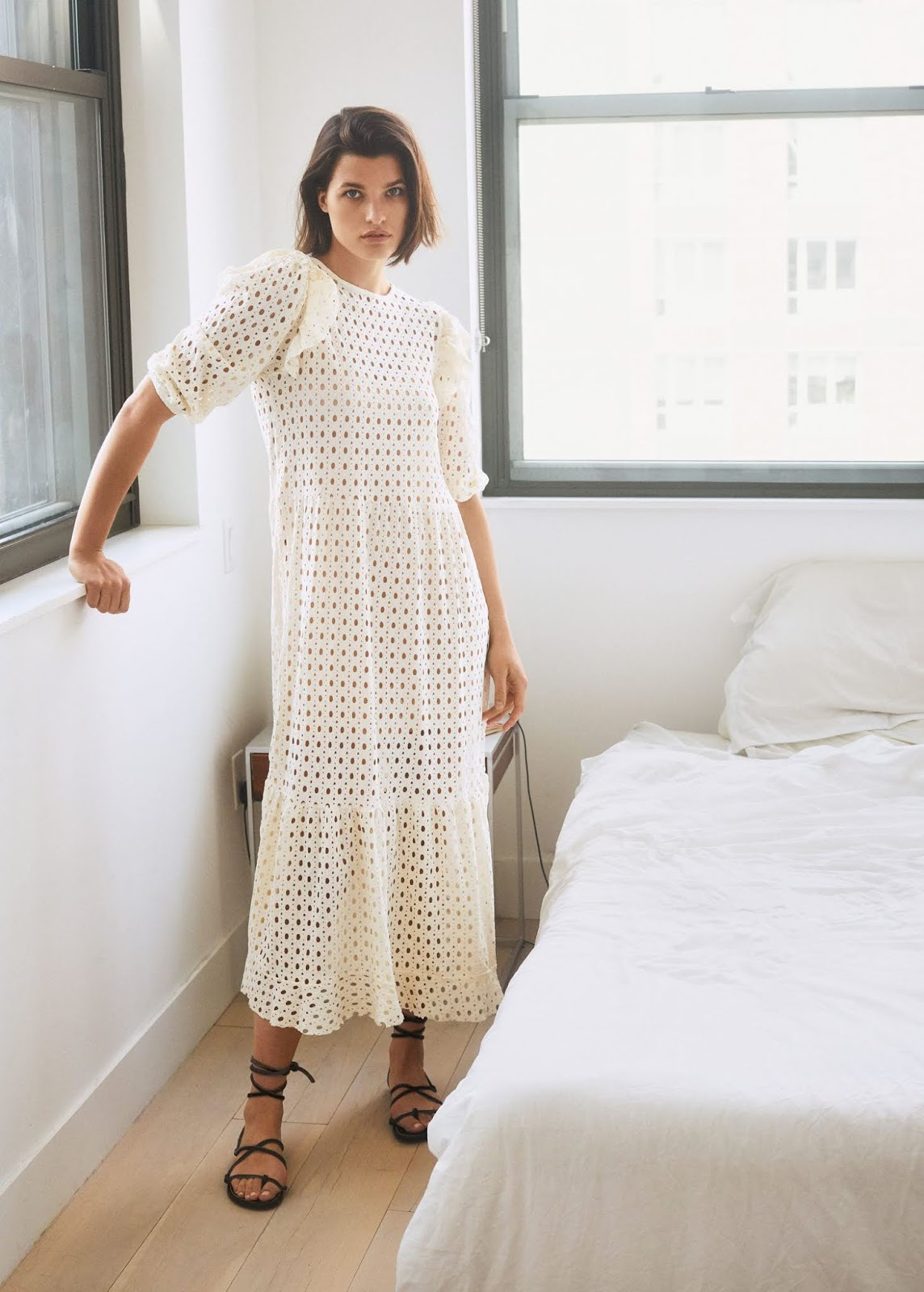 This Ruffled Open-Work Dress Is a Summer Must-Have
