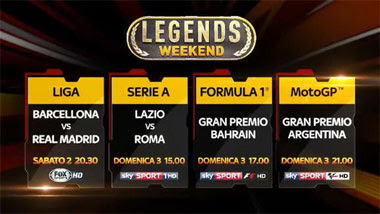 Diretta Live Streaming Gratis Rojadirecta F1, MotoGP, El Clasico, Derby di Roma, Legends Weekend su Sky Sport
