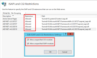 404.2 error: ISAPI and CGI Restriction list settings on the Web server