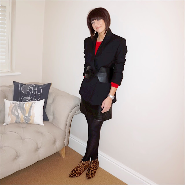 My midlife fashion, zara masculine oversized blazer, marks and spencer frilly jumper, marks and spencer a line faux leather skirt, boden leoaprd print johnny ankle boots, zara corset belt