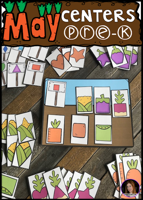 Are you looking for fun hands on centers for your pond, insects and spring themed activities? The Preschool End of the Year Spring Centers for May is sure to keep their interest and will help build important literacy, math and writing (fine-motor) skills. Like this garden shape matching activity