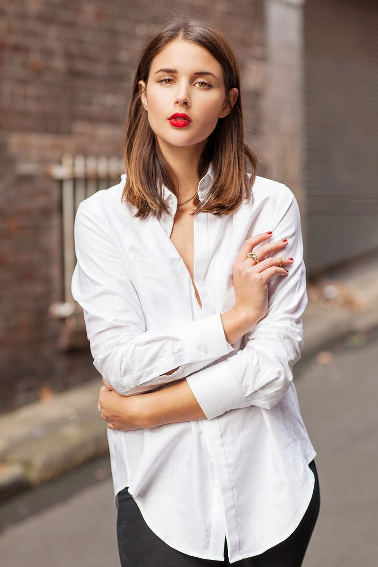 Harper & Harley - White Button Down + Red Lips