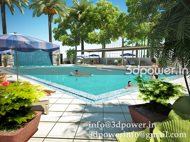 Swimming Pool 3D Rendering Township
