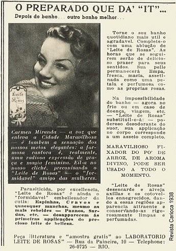 Propaganda do Leite de Rosas protagonizada pela cantora Carmen Miranda, nos anos 30