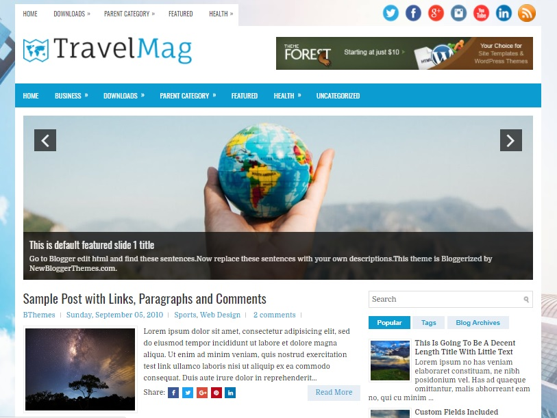TravelMag Blogger template has a featured posts slider Free Download TravelMag