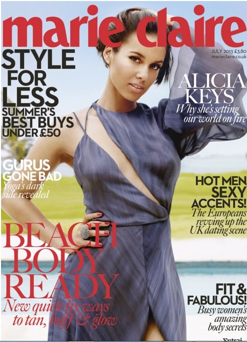 PHOTOS: Elegant singer, Alicia Keys Poses for the Cover of Marie Claire July Issue