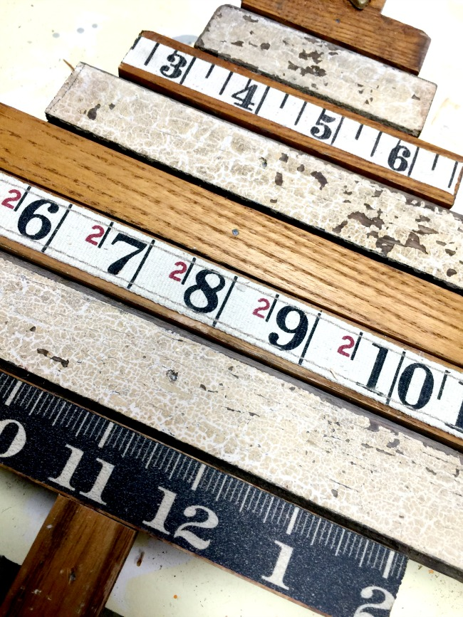 Vintage wood and ruler tape