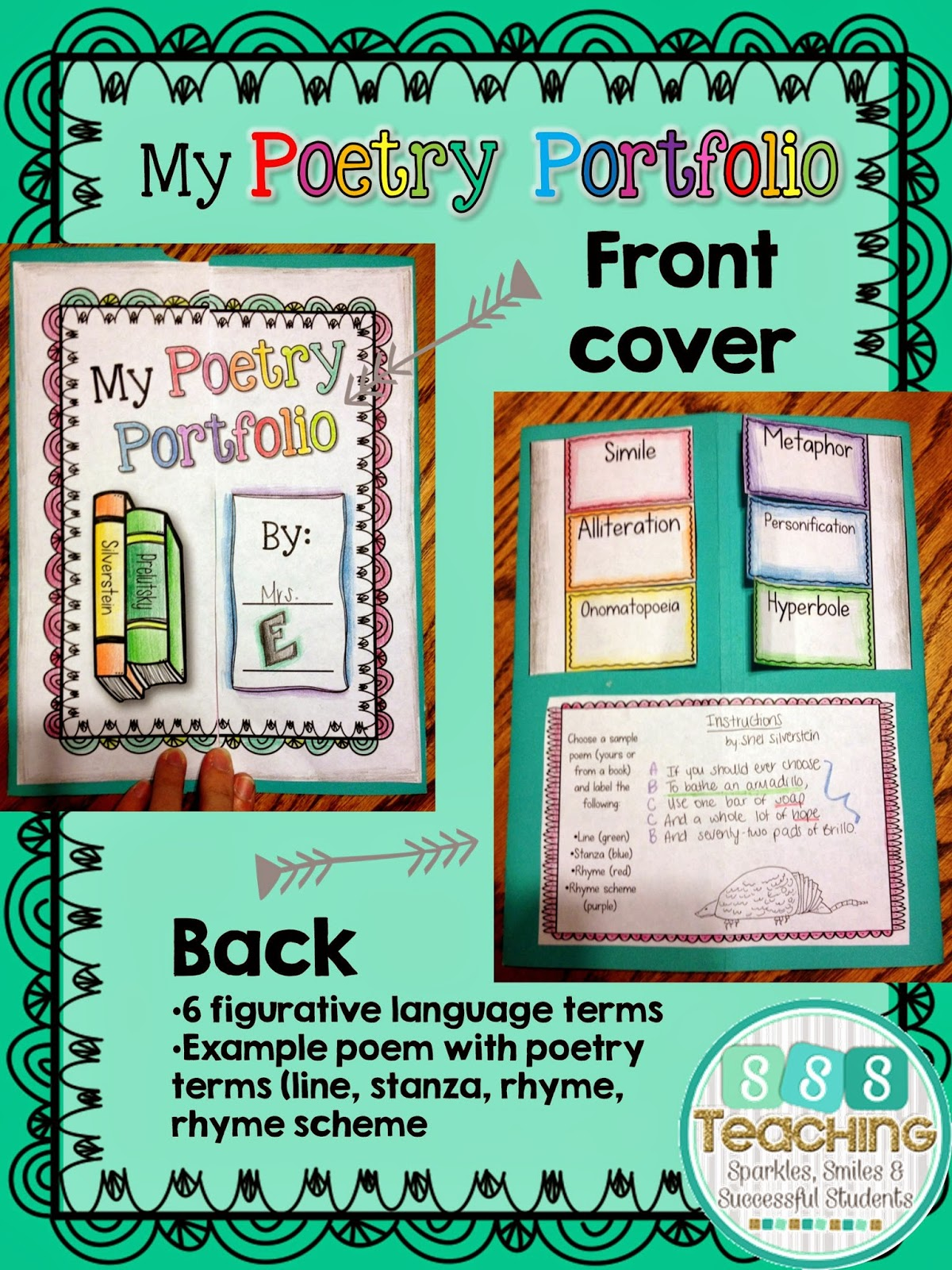 poetry portfolio lapbook assessment sssteaching the front cover is easy to color for each student the back contains a foldable to show what students know of 6 common figurative language terms