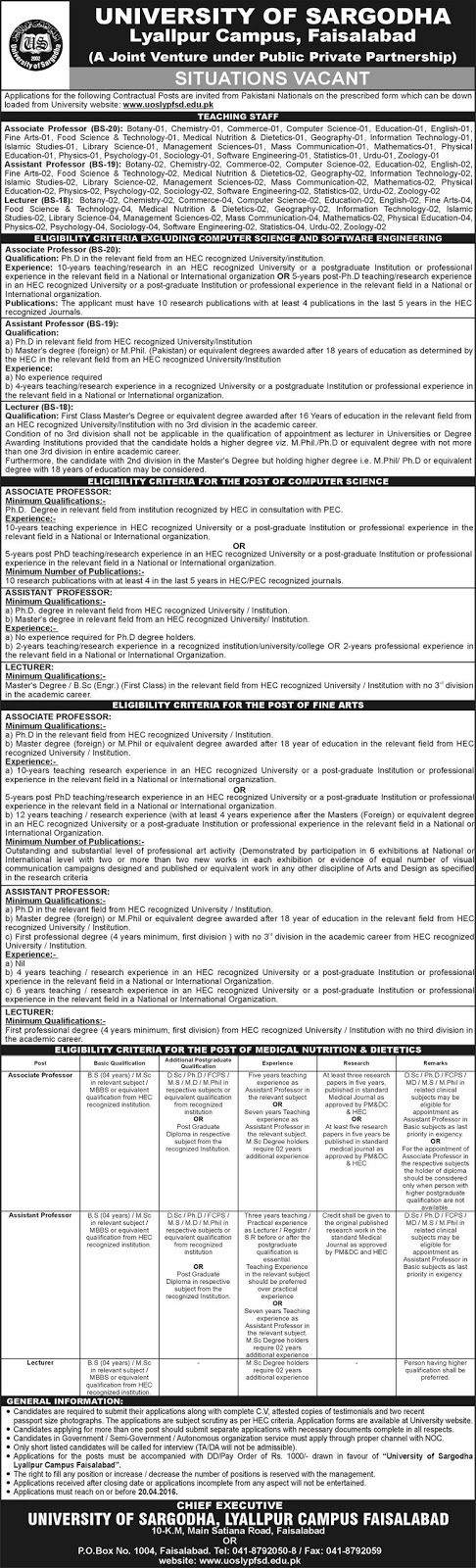 Teaching Faculty Jobs in University of Sargodha Faisalabad Campus