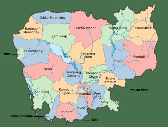 Pembagian wilayah Cambodia (Kamboja)