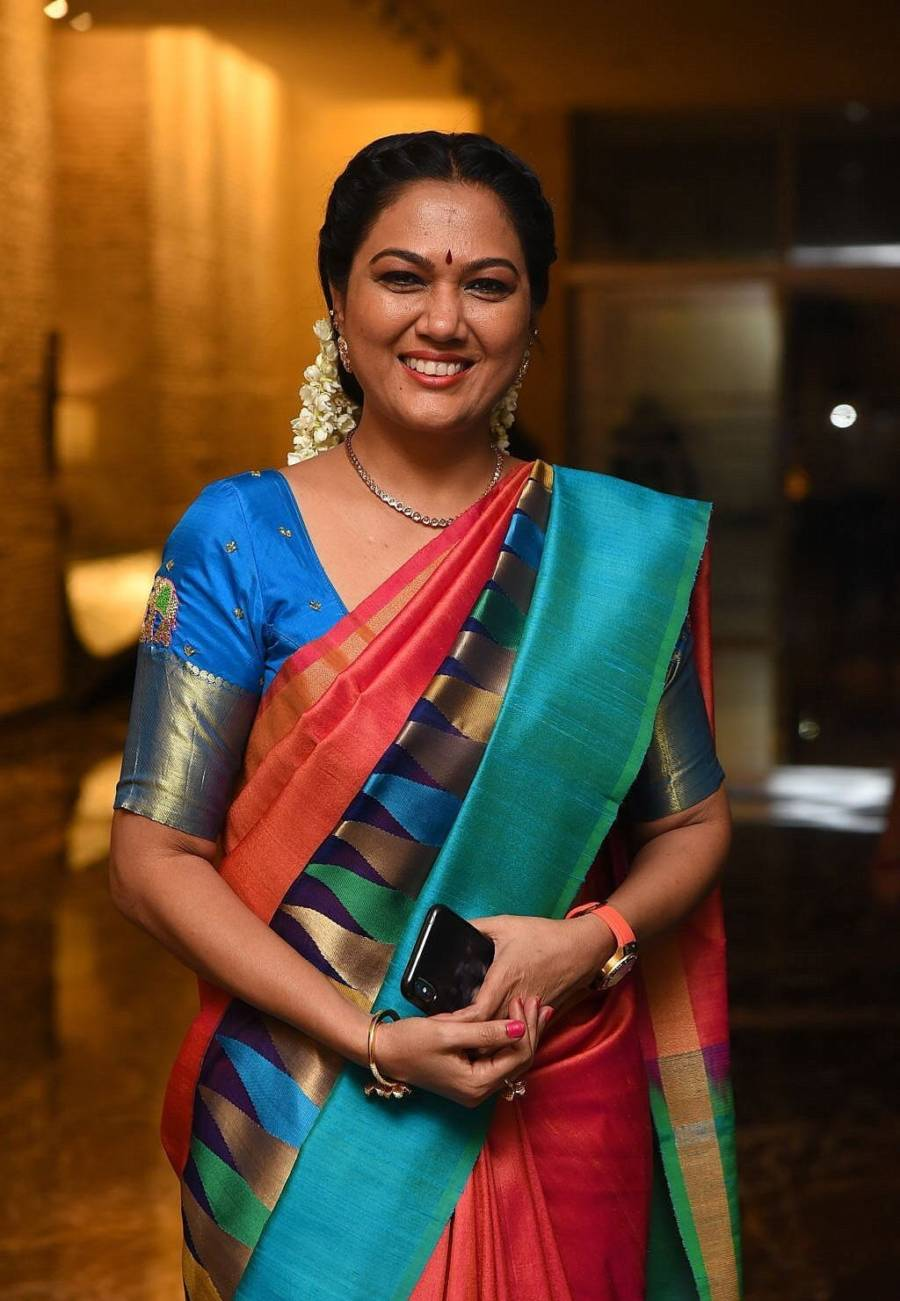 Actress Hema In South Indian Traditional Pink Saree