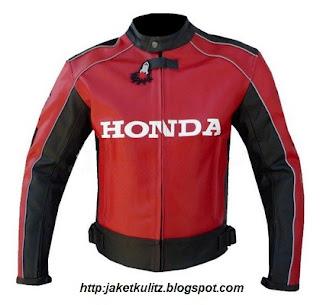 Gambar Jaket Kulit Honda Merah Sporty