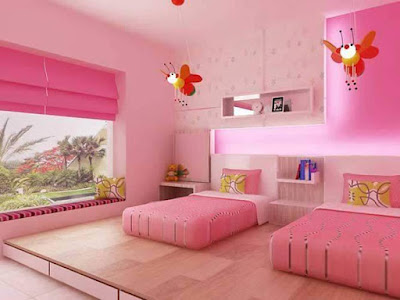 This beautiful pink bedroom uses a great Lovely pink color