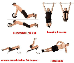 1 – reverse crunch inclined at 30 degrees