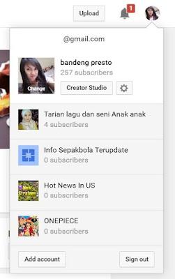 Channel Dalam Satu Akun Youtube
