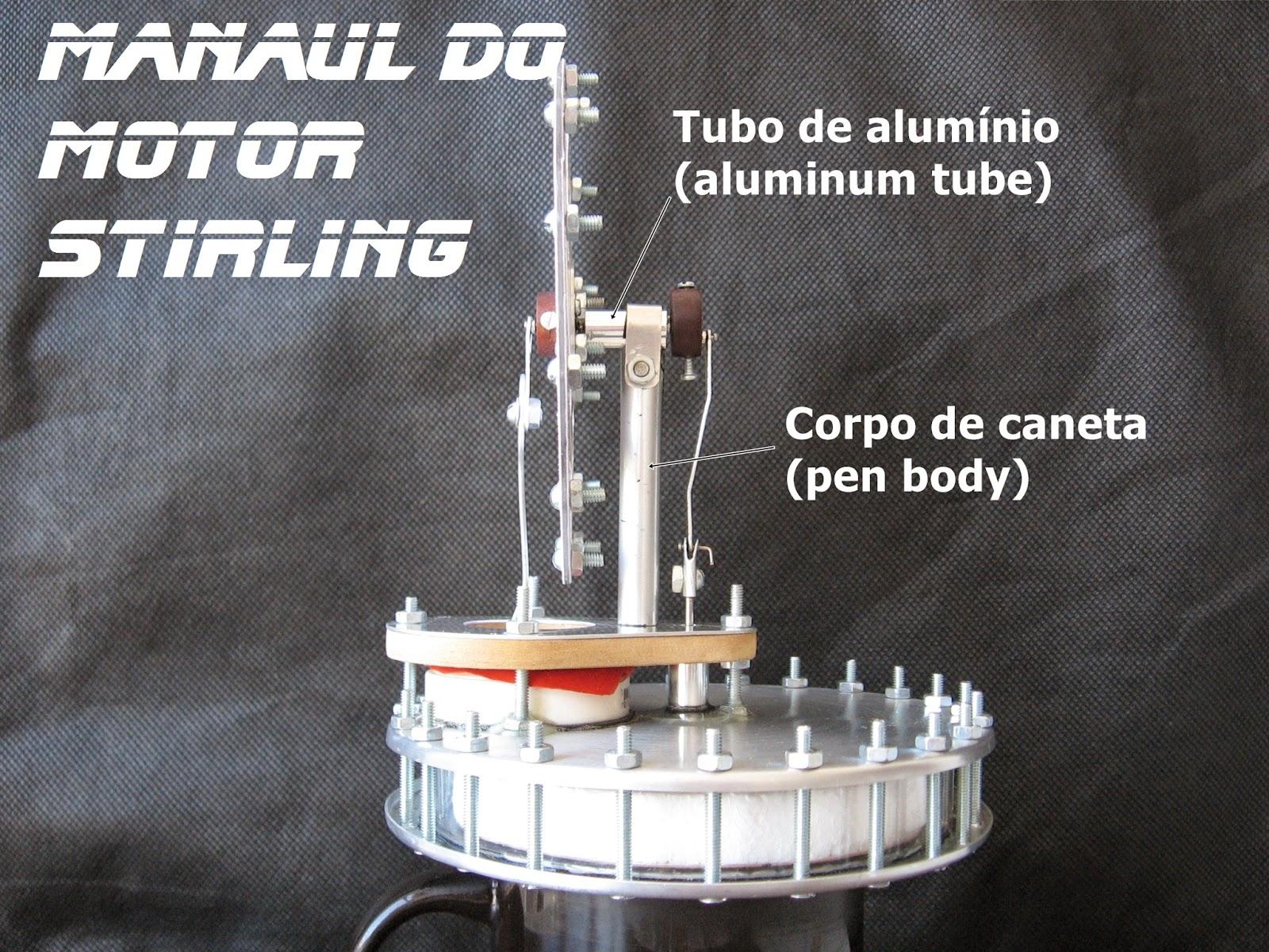 Motor Stirling LTD gama caseiro, exposição de materiais utilizados para sua contrução