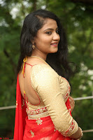 Akshara in Red Saree Golden Choli at LV Movie Makers Production No 1 Movie Opening ~  Exclusive 119.JPG