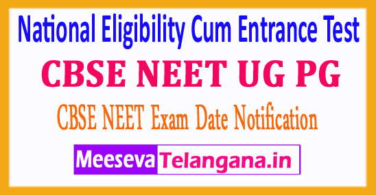 NEET CBSE National Eligibility Cum Entrance Test 2018 Application Form Notification Exam Dates Admit Card Download