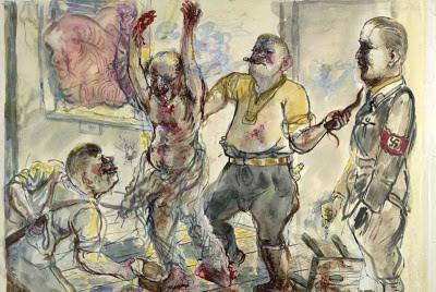 Obraz Grosza pt. Przesłuchanie przemoc bicie mężczyźni ubrani w mundur nazistowski